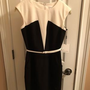 Calvin Klein Black/white midi work dress